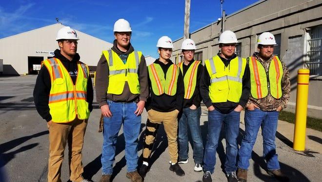 Danbury High School seniors get ready to tour the USG plant based in Gypsum, Ohio.