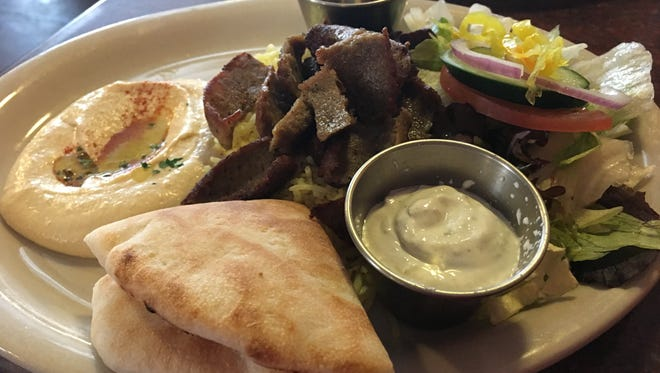 The gyro platter for lunch at Casbah includes salad and hummus for $8.