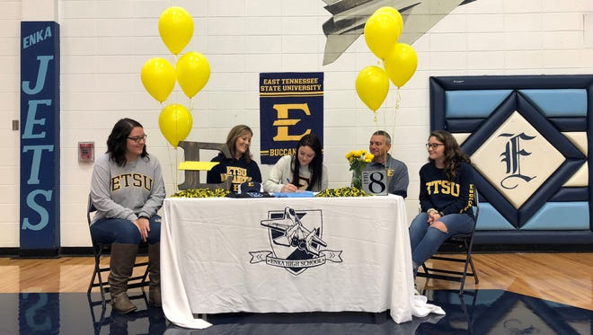Enka's Abbie Trantham signed with East Tennessee State University last week to play volleyball.