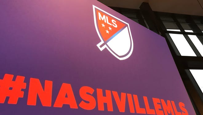 A projection of the MLS league logo and Nashville branding during a Dec. 20 ceremony announcing Nashville as the 24th MLS franchise.