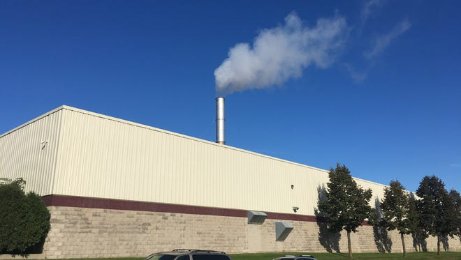 The smokestack on top of the Mid-America Steel Drum plant in St. Francis as pictured in November. Residents in the area report strong odors often coming from the plant's emissions.