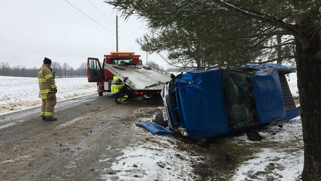 Two men were taken to the hospital with minor injuries after their truck rolled over on Saturday, Dec. 23, 2017. The rollover took place on Hecht Road, between Crall Road West and Amoy East Road.