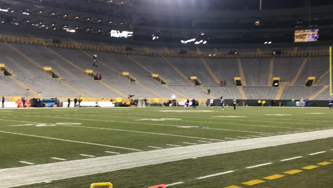 Lambeau Field hours before the Packers and Vikings play.