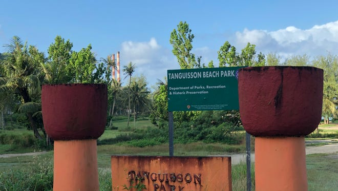 A sign in front of Tanguisson Beach Park is shown on Dec. 26, 2017, where a 23-year-old man reportedly drowned on Christmas morning.