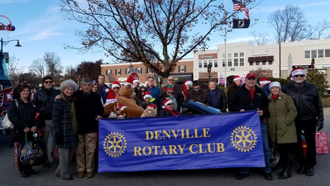 The Denville Rotary Club getting ready to march in the 2017 Denville Holiday Parade.