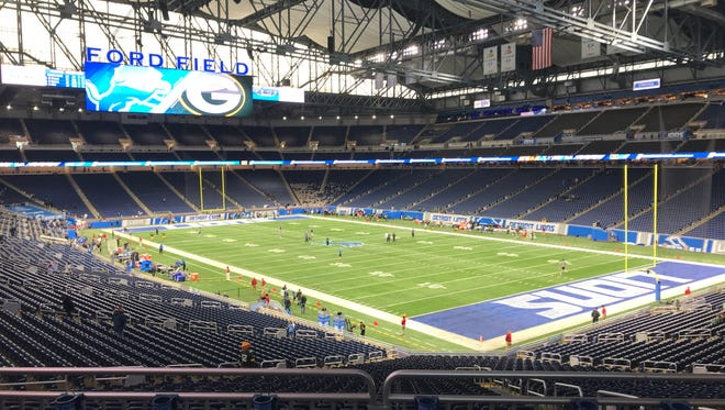 Ford Field before the Packers play the Lions
