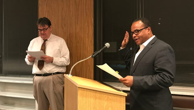 Teaneck Board of Education President Ardie Walser is sworn-in for another term.