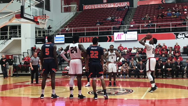 Austin Peay freshman Terry Taylor attempts a free throw against UT Martin.