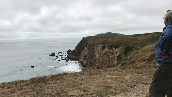 At the end of a trail to Chimney Rock on rugged cliffs overlooking the Pacific Ocean