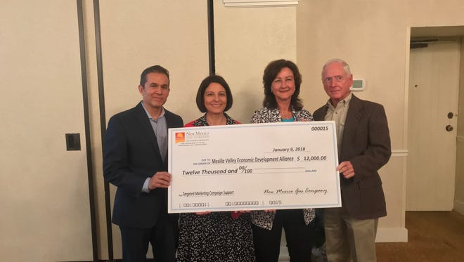 Pictured are MVEDA President and CEO Davin Lopez, left, MVEDA Board and Executive Committee member Christine-Sal Wright, Manager of Regulatory Affairs at New Mexico Gas Company Mary Homan, and Director of Business & Economic Development at New Mexico Gas Company Lloyd Hatch.