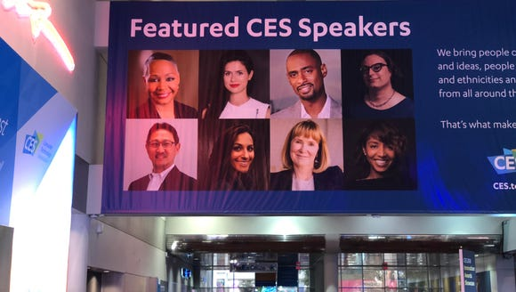 CES posters advertised featured speakers including women and people of color. But the keynote addresses were all men.