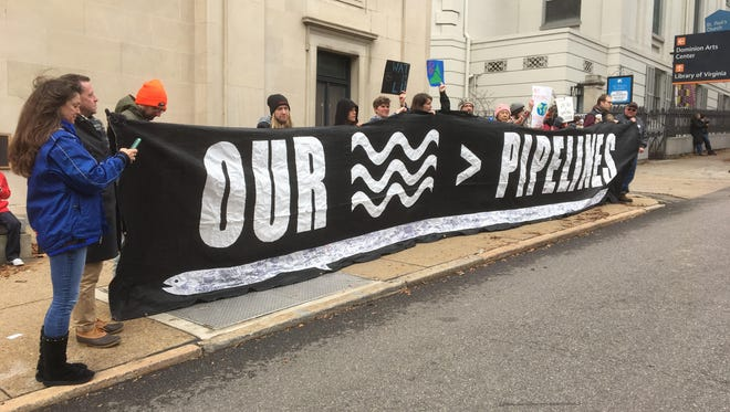 Pipeline activists at the Northam inauguration, January 13, 2018.