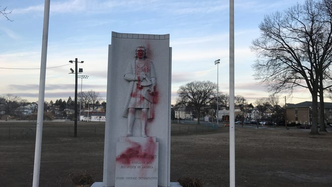 A Christopher Columbus statue in Garfield that was vandalized this month.