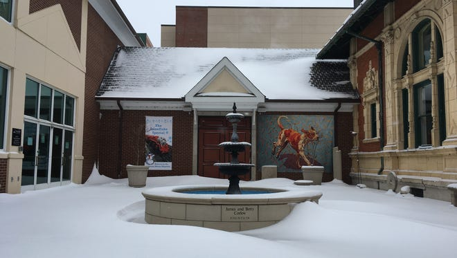 Drifts of snow cover the Customs House Museum courtyard in downtown Clarksville.