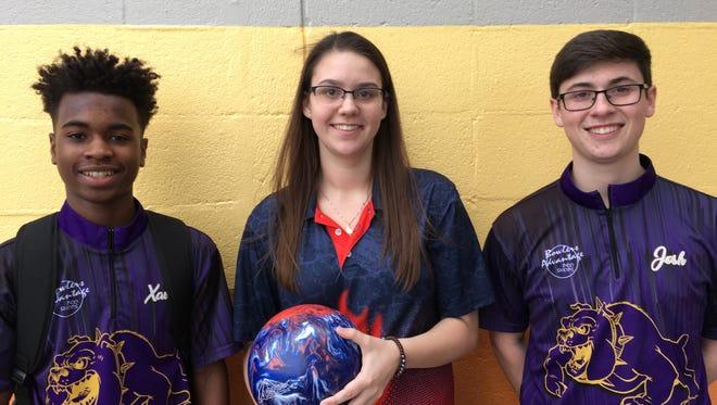 Smyrna's Xavier Powell-Short (left) and Josh Meeke (right) are finalists for the TSSAA Mr. Bowler award while Blackman's Baileigh Snow (middle) is a finalist for the Miss Bowler award. The winners will be announced Thursday at Smyrna Bowling Center.