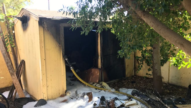 A woman suffered minor burns in a Jan. 17, 2018, shed fire at a residence in the 500 block of West Harmont Drive in Phoenix.