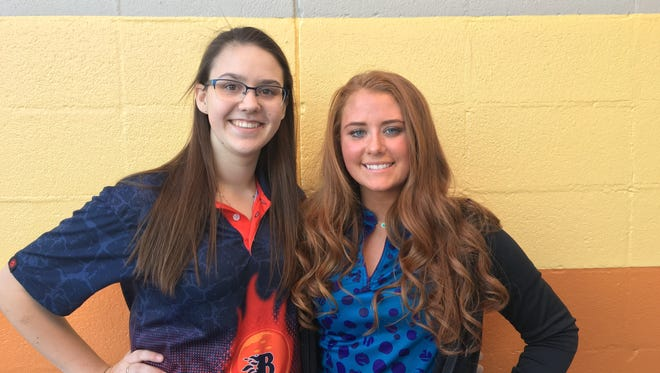 Blackman's Baileigh Snow (left) and Siegel's Danielle Jedlicki (right), along with Blackman's Sarah Sanes, are finalists for the all-area girls bowler of the year award.