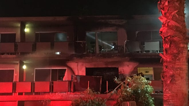 The Roadway Inn at West and South Palm Canyon drives caught fire Friday evening. Rooms on the second and third floor were damaged.