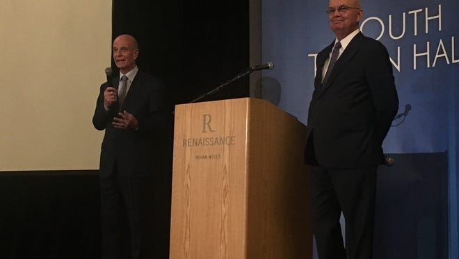 Sir John Scarlett (left), the former head of the British Secret Intelligence Service, and Gen. Michael Hayden, the former director of the CIA and National Security Agency, speak to local high school students during the Youth Town Hall portion of the Desert Town Hall speaker series on Jan. 19, 2018.