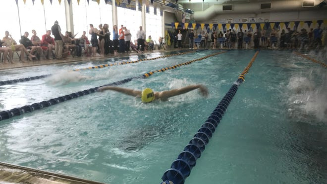 River Valley's Ace Fry finishes second in the 100-yard butterfly during the Mid Ohio Athletic Conference Swimming Championships at Ontario High School on Saturday.