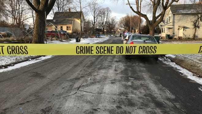 Rochester police on scene of a double shooting on Second Street Wednesday afternoon.