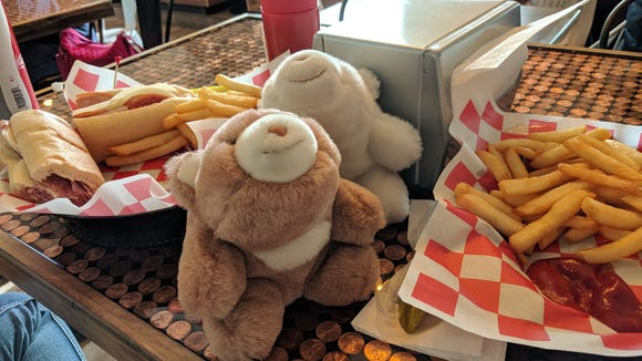 Two fine bear dining companions enjoyed their lunch at the new Marco's Pizza on Carlisle Road in West York in January 2018. (So did Only in York County author Joan Concilio and her fiance, Dan Herman!)