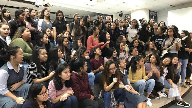 Academy of Our Lady of Guam students prepare for their songfest season.