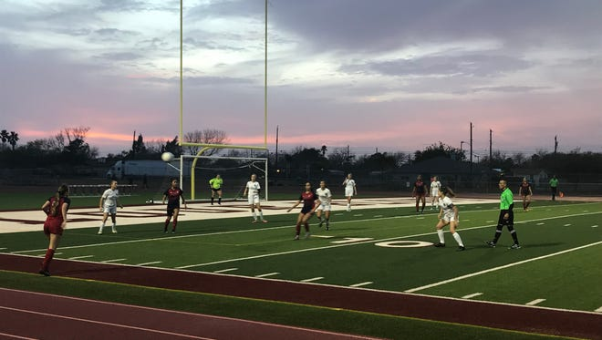 Flour Bluff and Veterans Memorial square off of a District 30-5A soccer match on Friday at Hornets Stadium. The Eagles won 3-2.