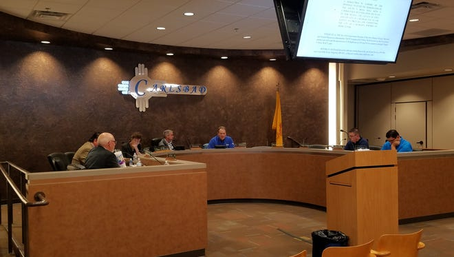 Carlsbad City Council members consider a resolution to dedicate $4 million over the next three years to fund a solution the Carlsbad Brine Well during an emergency meeting Friday.