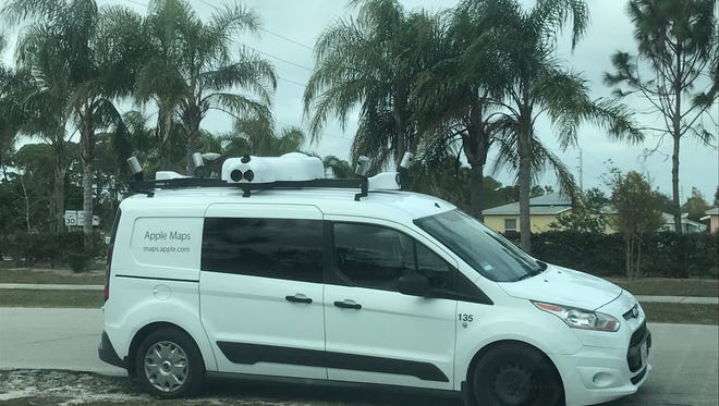 An Apple Maps car was spotted Friday near Oslo Road and 20th Street in Vero Beach. Apple is driving vehicles around the world to collect data which will be used to improve Apple Maps.