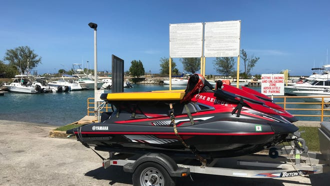 Rescue jet skis were brought to the Hagåtña boat basin to respond to a boat capsizing.