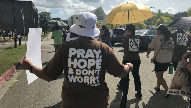 Hundreds of Catholics marched to the Guam Legislature Building during the Rally for Life on Sunday, Jan. 28.