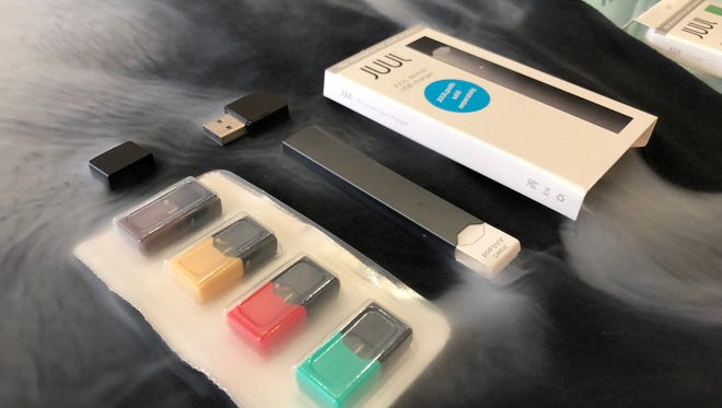 A Juul is an e-cigarette designed to be low-key and easy to use. The Bohemian Lair smoke shop in Cocoa Village sells starter packs, as pictured, for $49.99.
