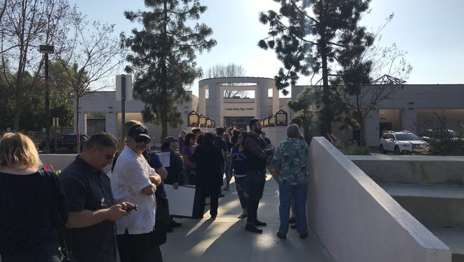People were already lined up Tuesday afternoon waiting to get tickets for Tuesday night's Conejo Valley Unified School District board meeting.