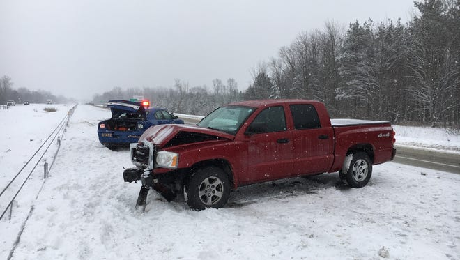 A truck rear ended a MSP trooper Friday afternoon on I-94.
