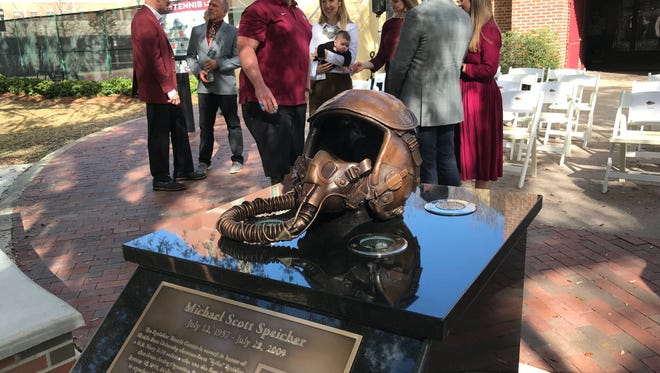 A memorial pedestal in honor of the late Capt. Scott Speicher was unveiled at FSU  on Friday. The memorial, created by the Master Craftsman Studio, features a bronze helmet similar to one worn by Speicher.