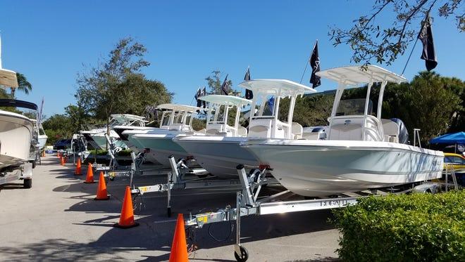 The boat dealers bring plenty of inventory to the annual Bonita Bay Marina Boat Show.