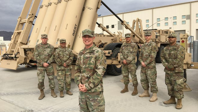 Alpha 4 helped to lay the foundation for a THAAD presence in South Korea. Members of the unit included from left: 1st Lt. Josh Fergel, Chief Warrant Officer 2 Jesus Peña, Chief Warrant Officer 2 Stephen Showalter, Spc. Brandon Burke, Spc. Anthony Burns and Staff Sgt. John Perez.