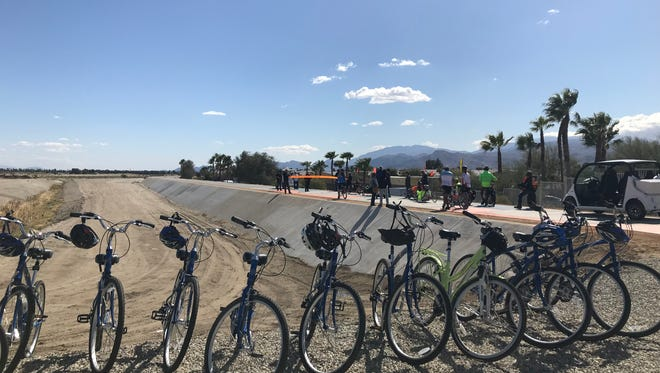 Bikes line the entrance to the start of the CV Link on Feb. 23, 2018.