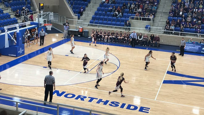 Flour Bluff takes on Marble Falls in a Region IV-5A girls basketball semifinal on Friday, Feb. 23 at the Northside Sports Gym in San Antonio.