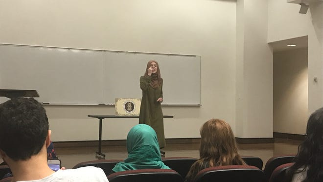 "Amal Kassir gave a speech entitled, ""The Muslim on the Airplane,"" at FSU on Feb. 22."