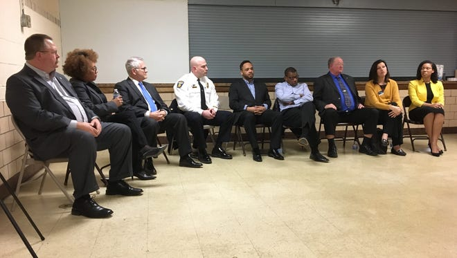 Panelists speak to the community during a youth town hall hosted by the NAACP, NECIC and UMADAOP at Ocie Hill on Wednesday, Feb. 28, 2018. Panelists included government, school and police officials and community leaders.