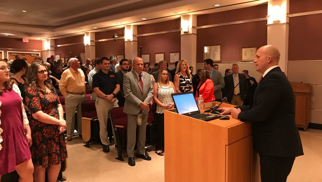 Port St. Lucie Mayor Greg Oravec delivers his State of the City address on Feb. 26, 2018.