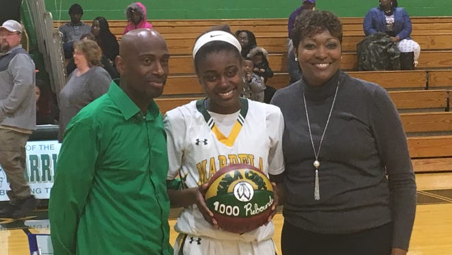 Mardela senior Kayla Cook tallied her 1,000th career rebound in the Warriors' victory over Washington Thursday night in the MPSSAA 1A playoffs. Cook also scored her 1,000th career point this season in a win over Wi-Hi on Feb. 1.