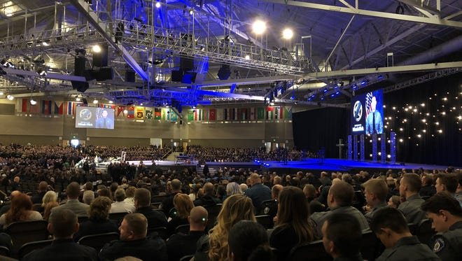 Police, supporters pack New Life Church in Colorado Springs for the funeral of El Paso County Sheriff's Office Deputy Micah Flick on Feb. 10.