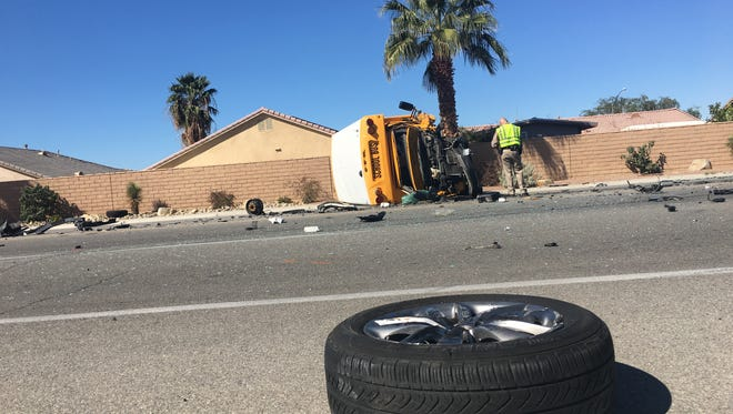 A school bus involved in a collision on Calhoun St in Coachella was turned over by the impact of the crash.