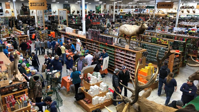 The scene at Sportsman's Warehouse Saturday, where an event by Seattle Children's Hospital gave out 350 gun lock boxes.