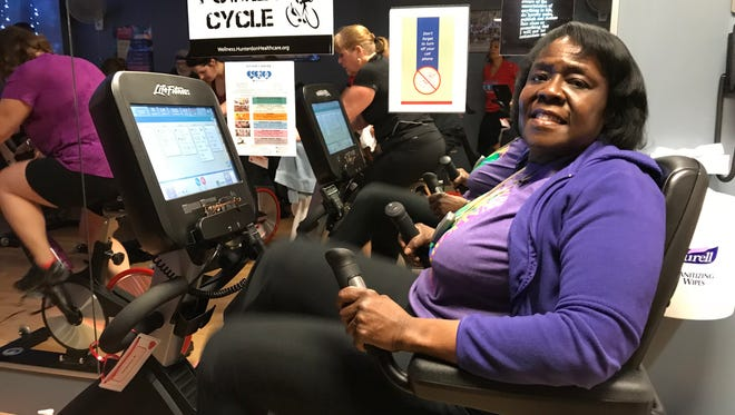 Glenda Webb, of Alexandria, is a breast cancer survivor who was recently diagnosed with leukemia. She biked 26 miles on Saturday at Hunterdon Wellness Center for Fit for Cancer.