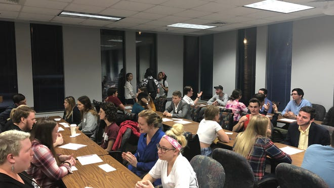 "Students of all views and political ideologies gathered at the DeVoe L. Moore Center for the ""Agree to Disagree"" event on Monday, Feb. 26, 2018."