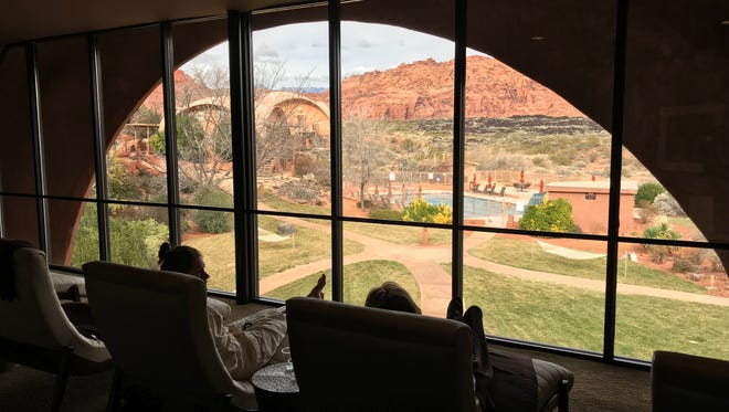 Guests relax at the spa at Red Mountain Resort in Ivins. The city has been named a top destination for child-free travelers.